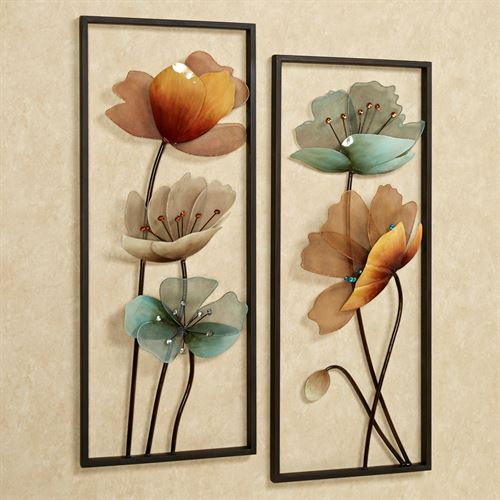 tuscany in bloom floral metal wall art set