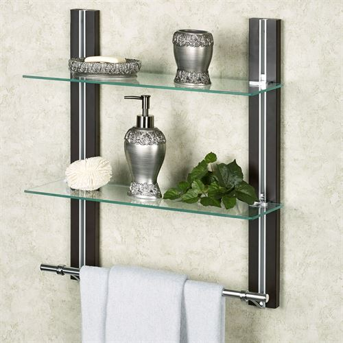 Two Tier Glass Bathroom Shelf with Towel Bar