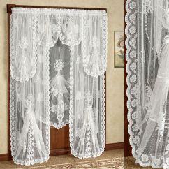 Elegant Kitchen Curtains Valances Table Sets Ikea Victorian Bustle Lace Window Treatment