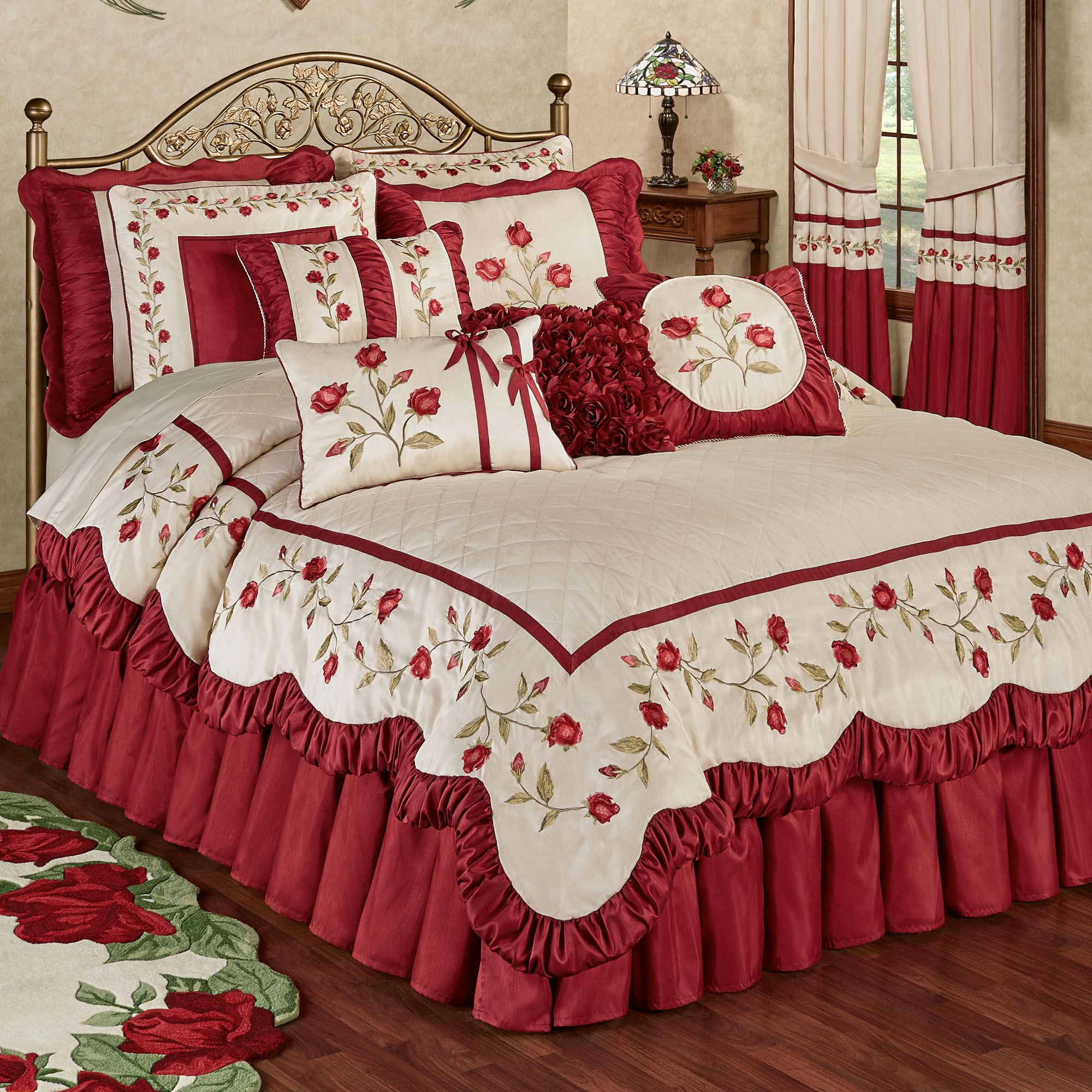Briar Rose Dark Red Floral Romantic Comforter Bedding