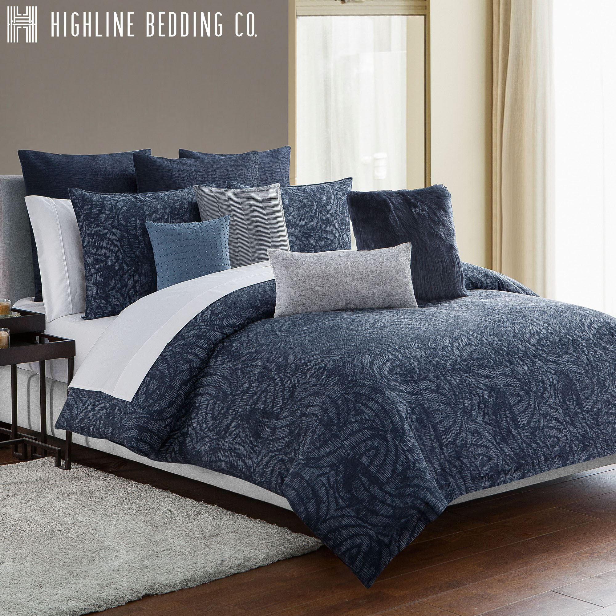 Jakarta Swirl Midnight Blue Mini Comforter Set by Highline