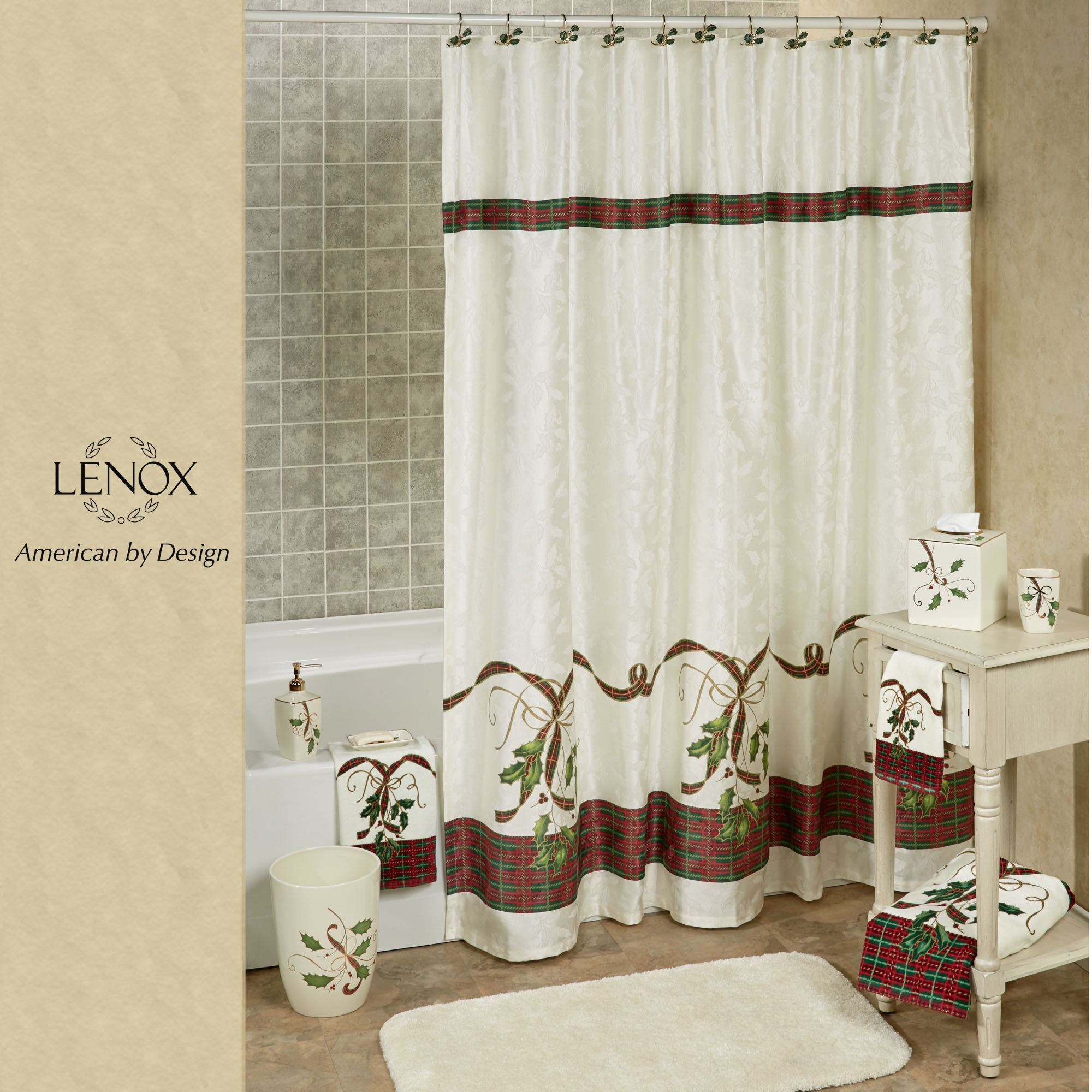 lenox christmas chair covers cover hire cambridgeshire holiday nouveau holly shower curtain ivory