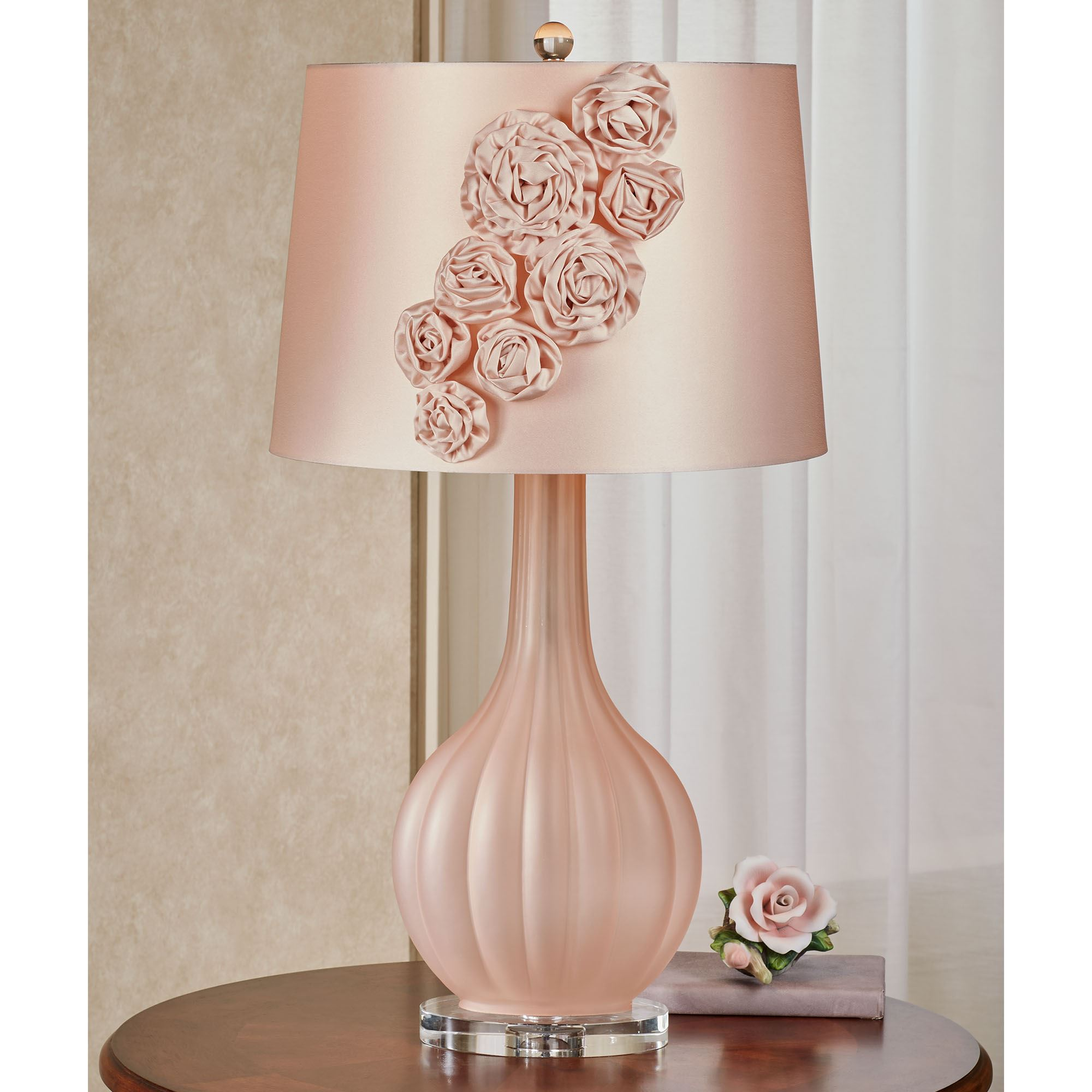 Sarabeth Blush Frosted Glass Table Lamp With Fabric Flower Blossom Shade