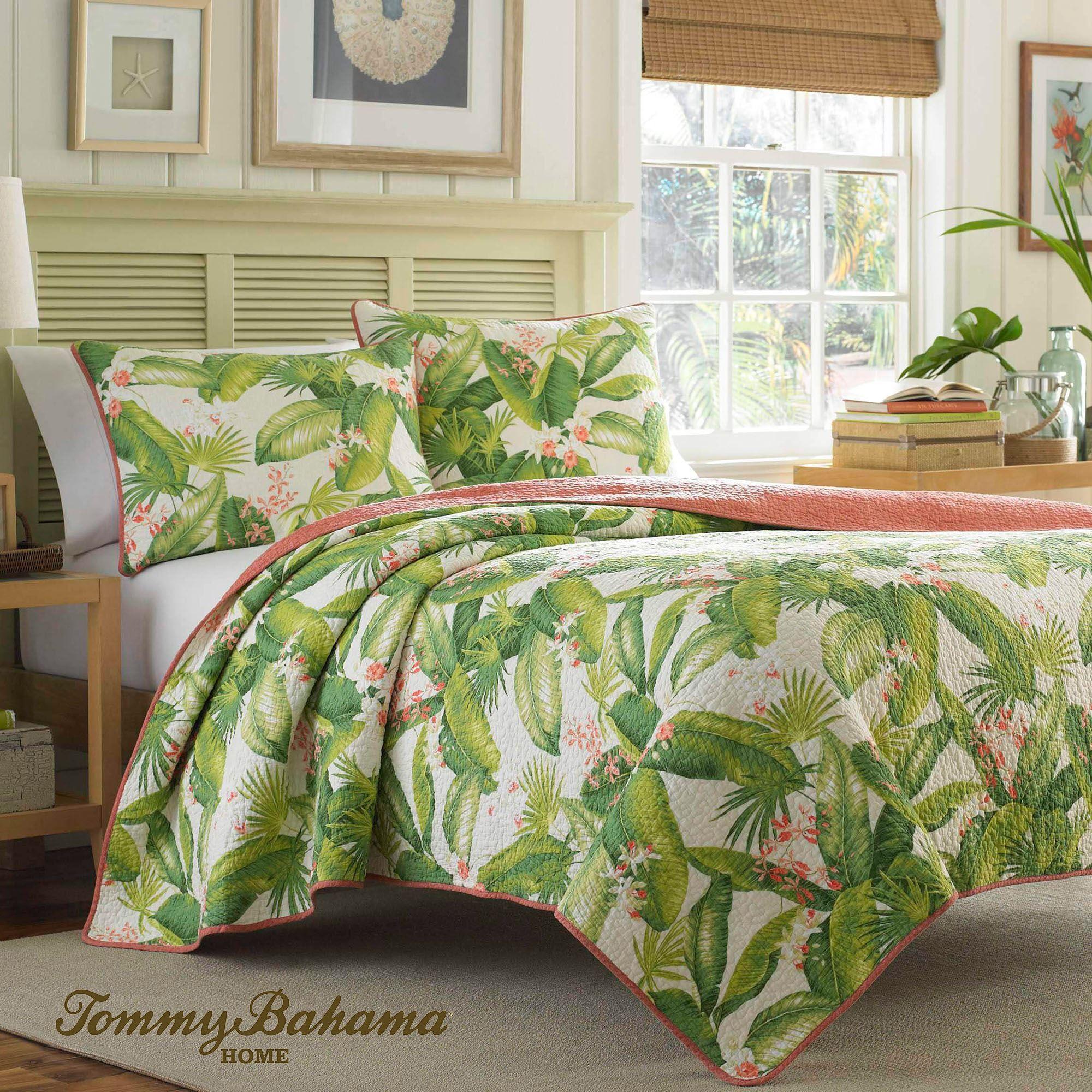 aregada dock tropical palm leaf mini quilt set bedding by tommy bahama