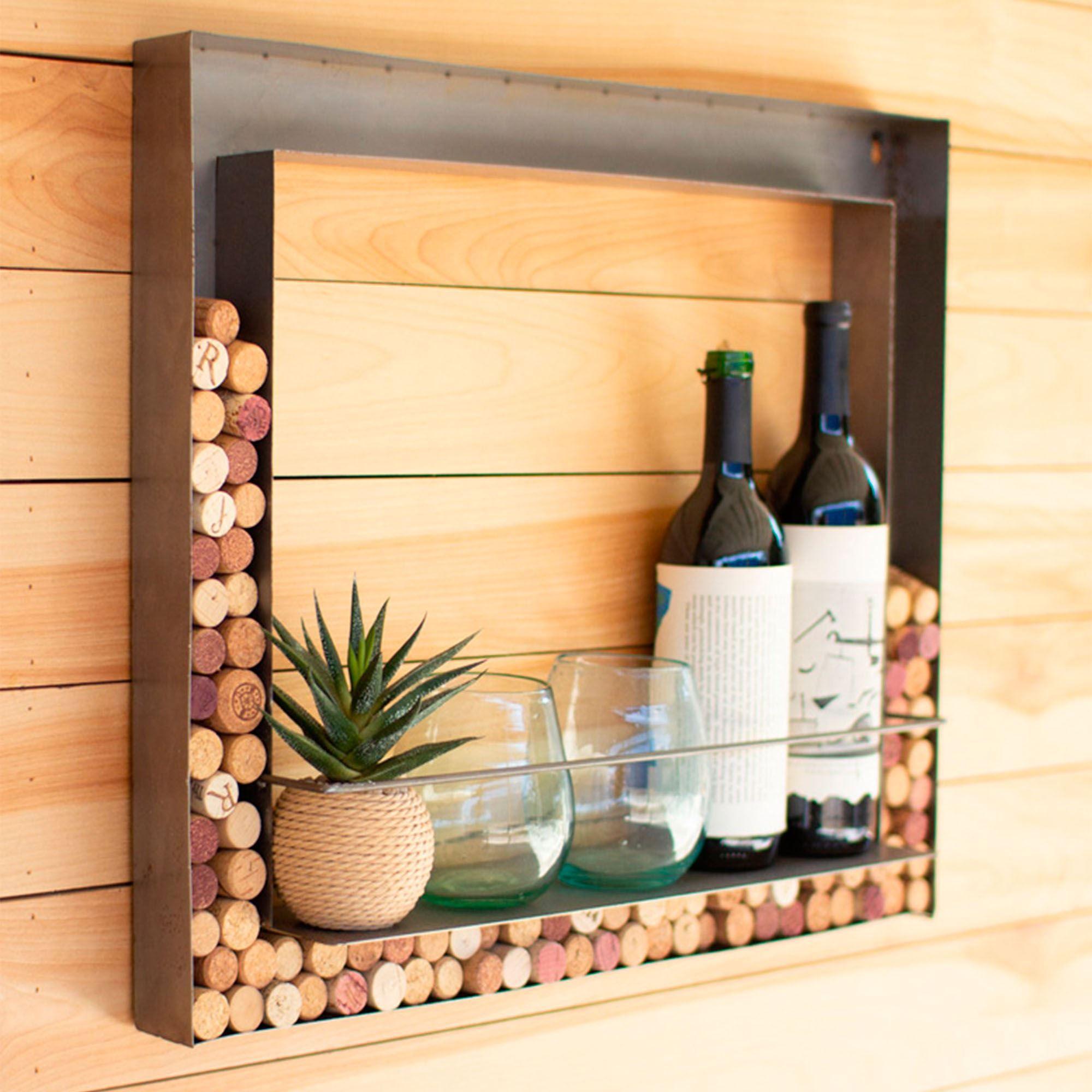 metal wall bar wine bottle and wine cork holder