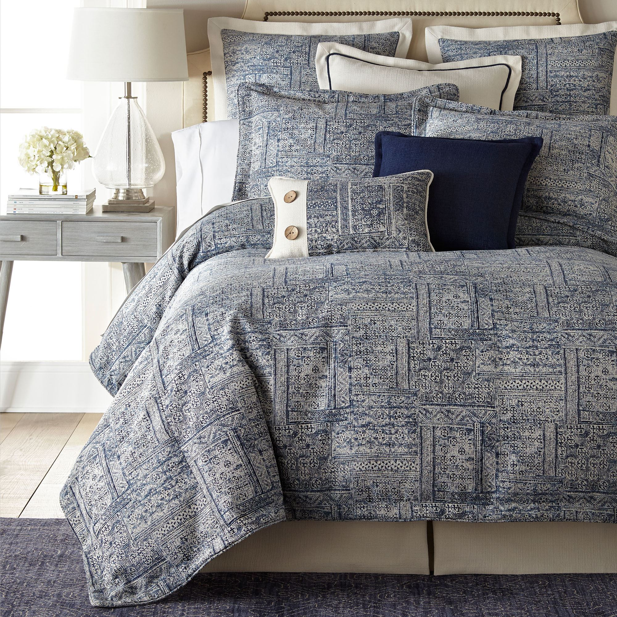 brentwood dark blue mini comforter set bedding from thread and weave