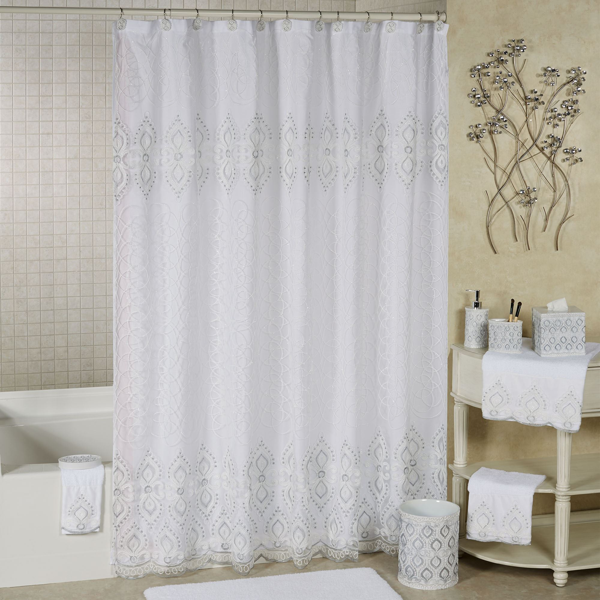 morocco sheer lined embroidered shower curtain
