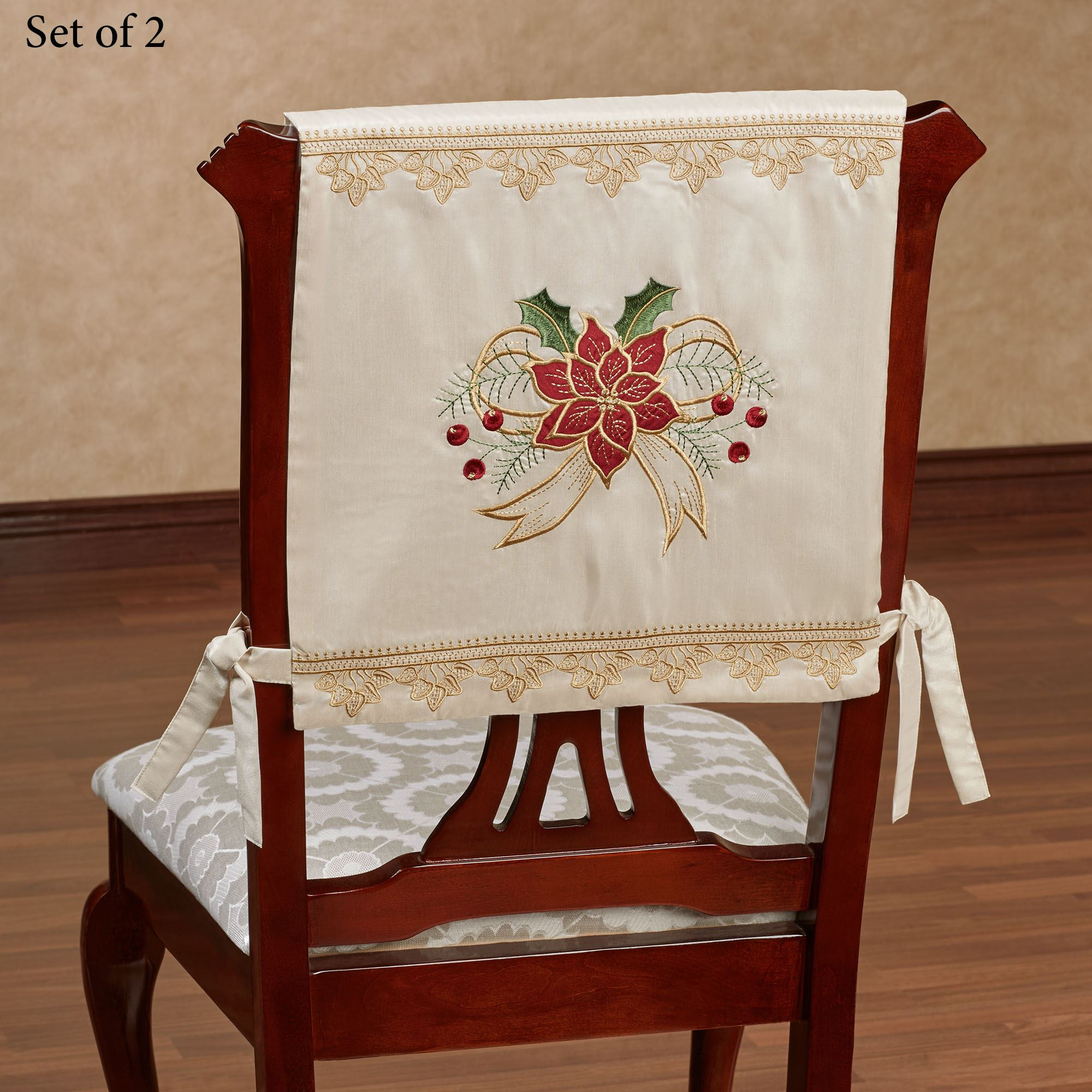 holiday christmas chair covers best outdoor lounge chairs 2018 poinsettia palace embroidered table linens