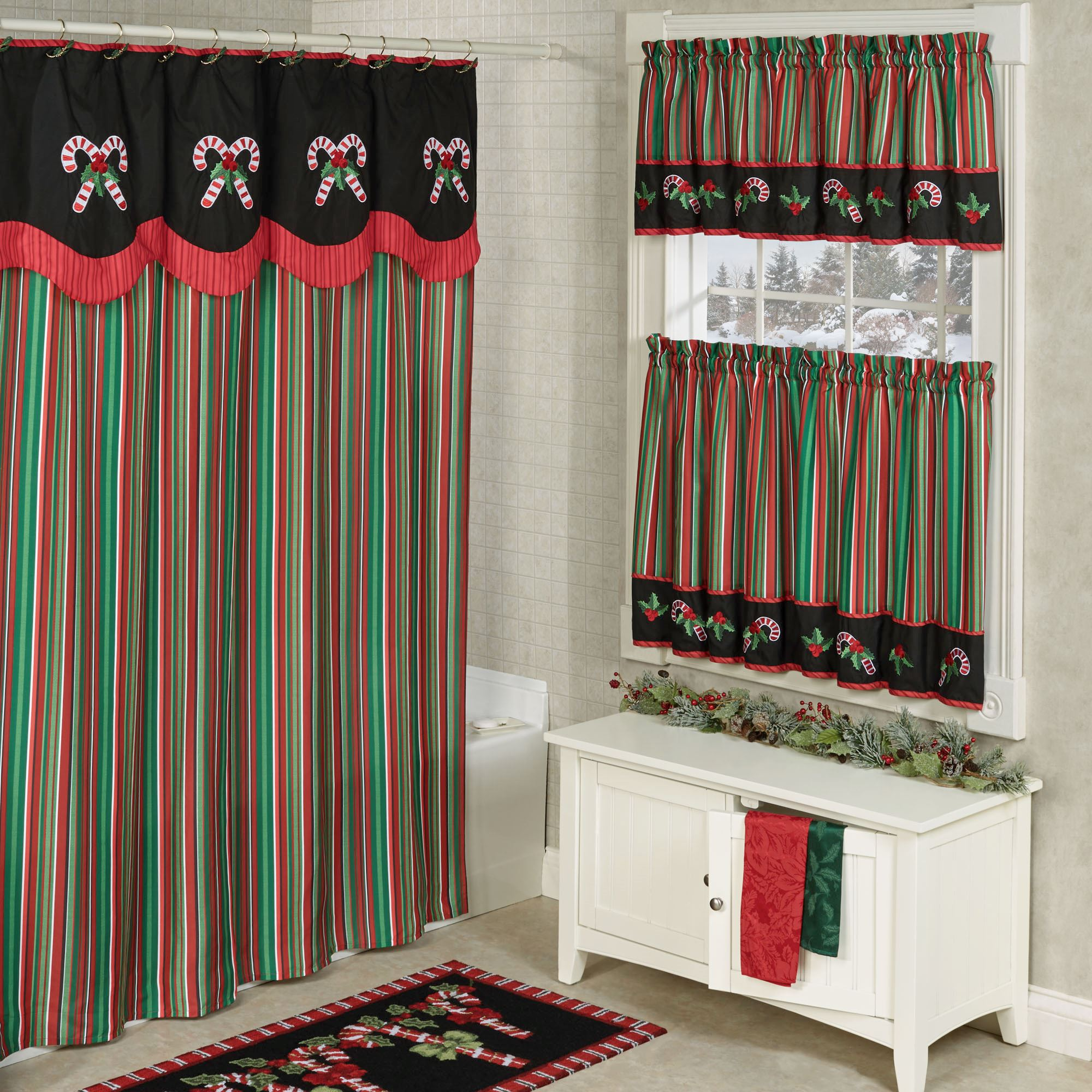 Peppermint Dreams Striped Holiday Shower Curtain