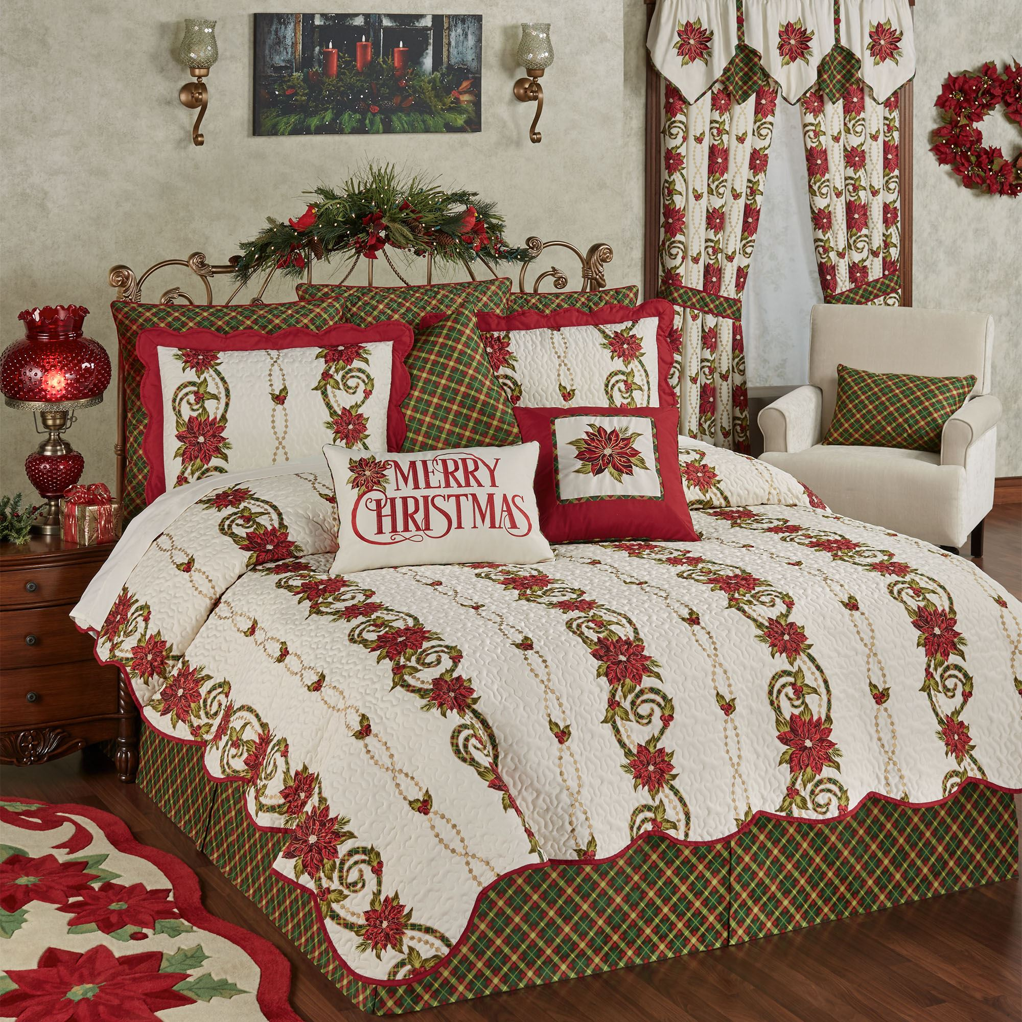 Holiday Traditions Poinsettia Coverlet Set Bedding