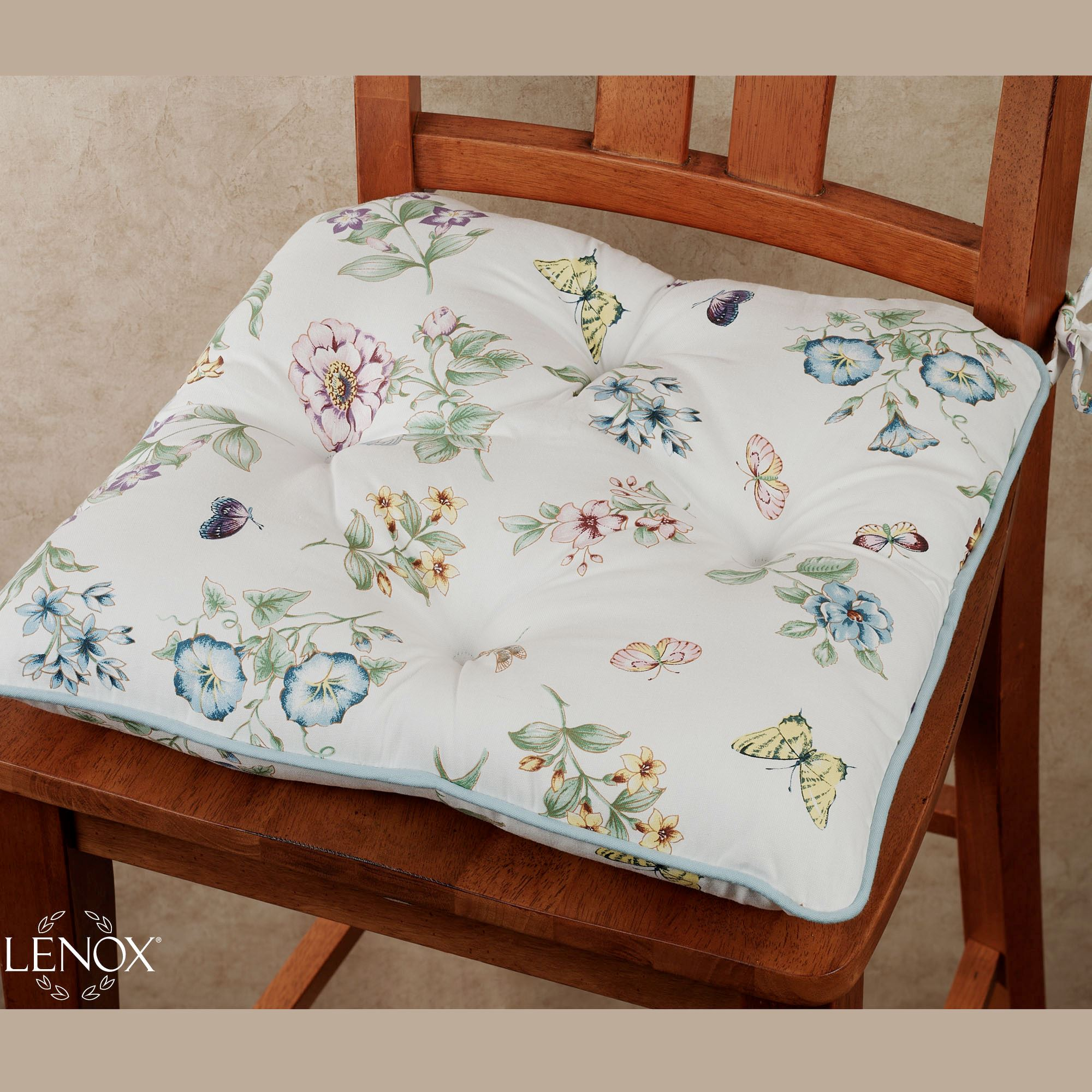 chair cushions with ties french country glider patio chairs lenox butterfly meadow cushion or placemat set