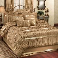Splendor Shirred Faux Silk Dark Gold Comforter Bedding