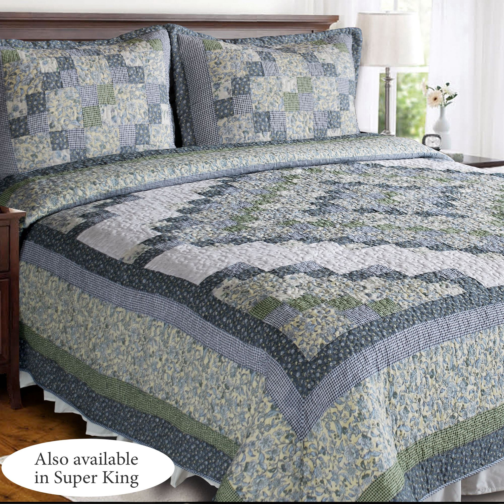 Blue Ridge Valley Green and Blue Patchwork Quilt