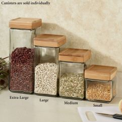 Kitchen Canister Island Tops Ideas Macallister Stackable Glass Canisters Clear Touch To Zoom