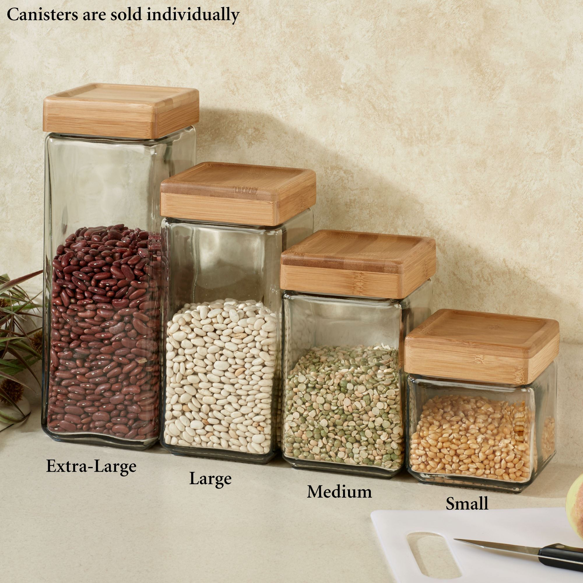 canisters kitchen cabinet knob placement macallister stackable glass canister clear touch to zoom