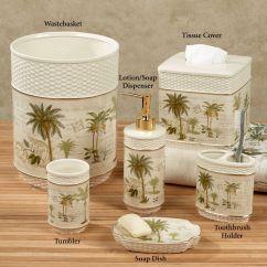 Palm Tree Kitchen Decor Sink Storage Colony Tropical Bath Accessories