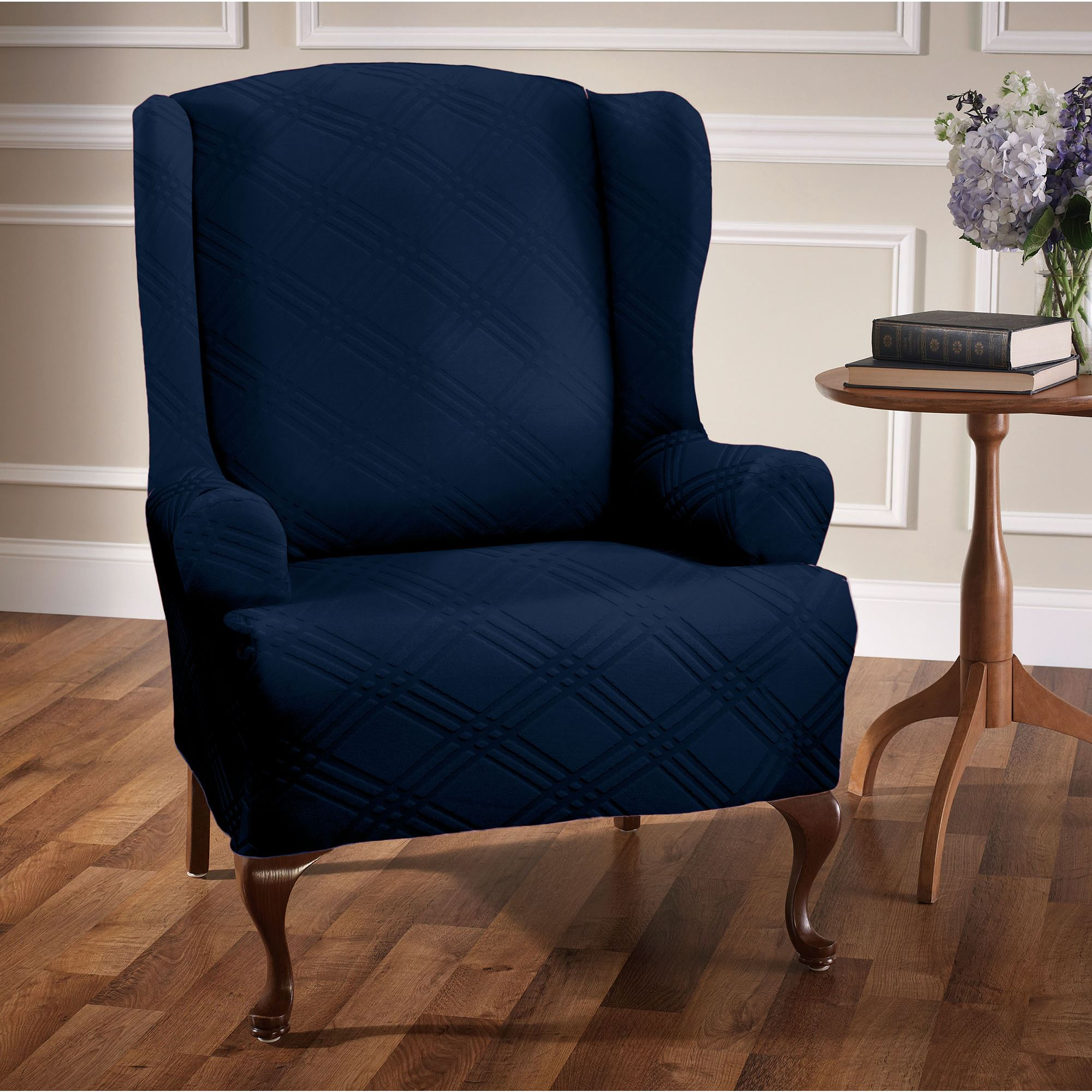 blue wingback chair covers chairs folding wood double diamond stretch wing slipcovers