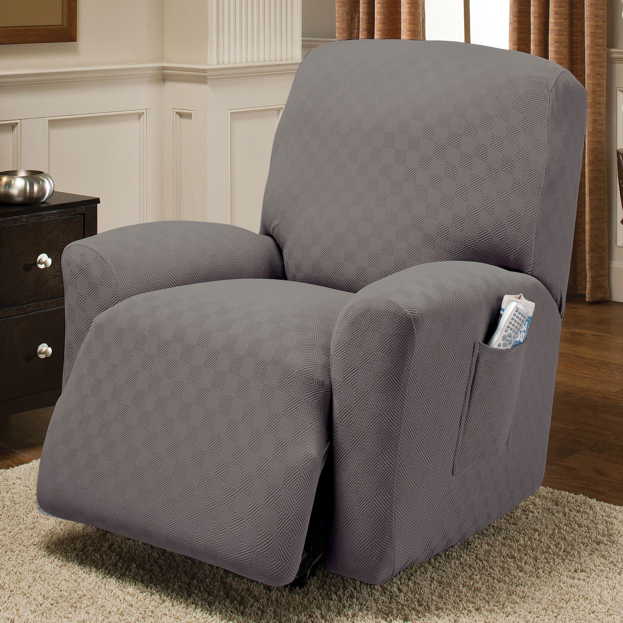 gray chair slipcover office chairs dublin newport stretch wing slipcovers jumbo recliner