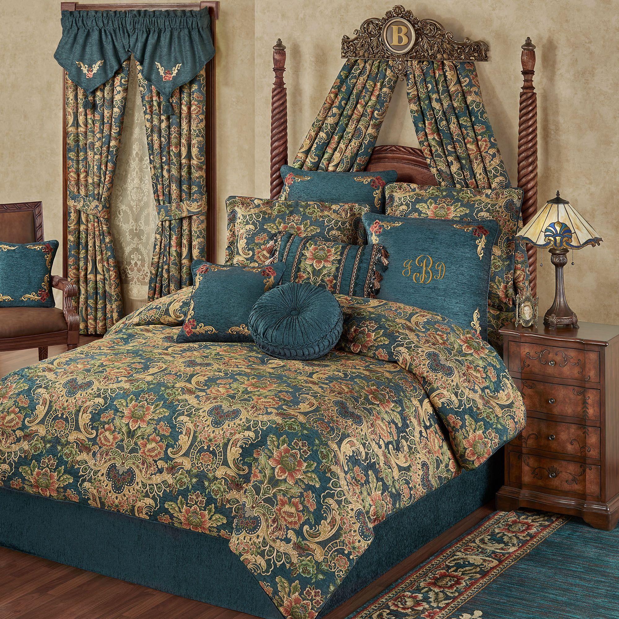Casanova Jacobean Floral Dark Teal Comforter Bedding