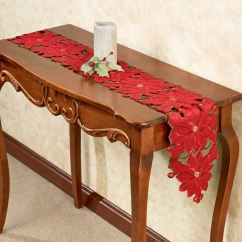 Sofa Table Runners White Leather Sectional With Recliner Christmas Poinsettia 60 Inch Long Runner