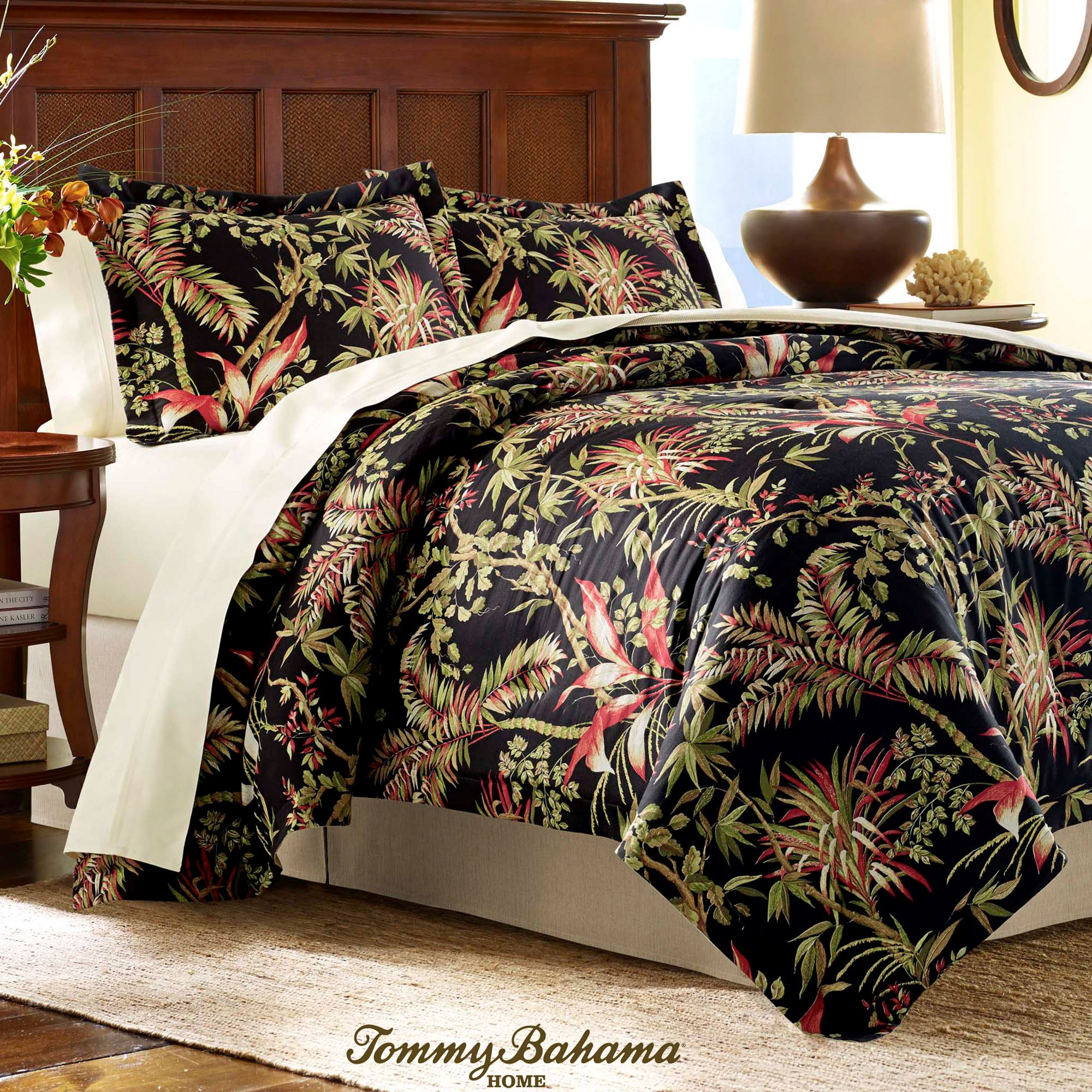 Jungle Drive Black Tropical Duvet Cover Set by Tommy Bahama