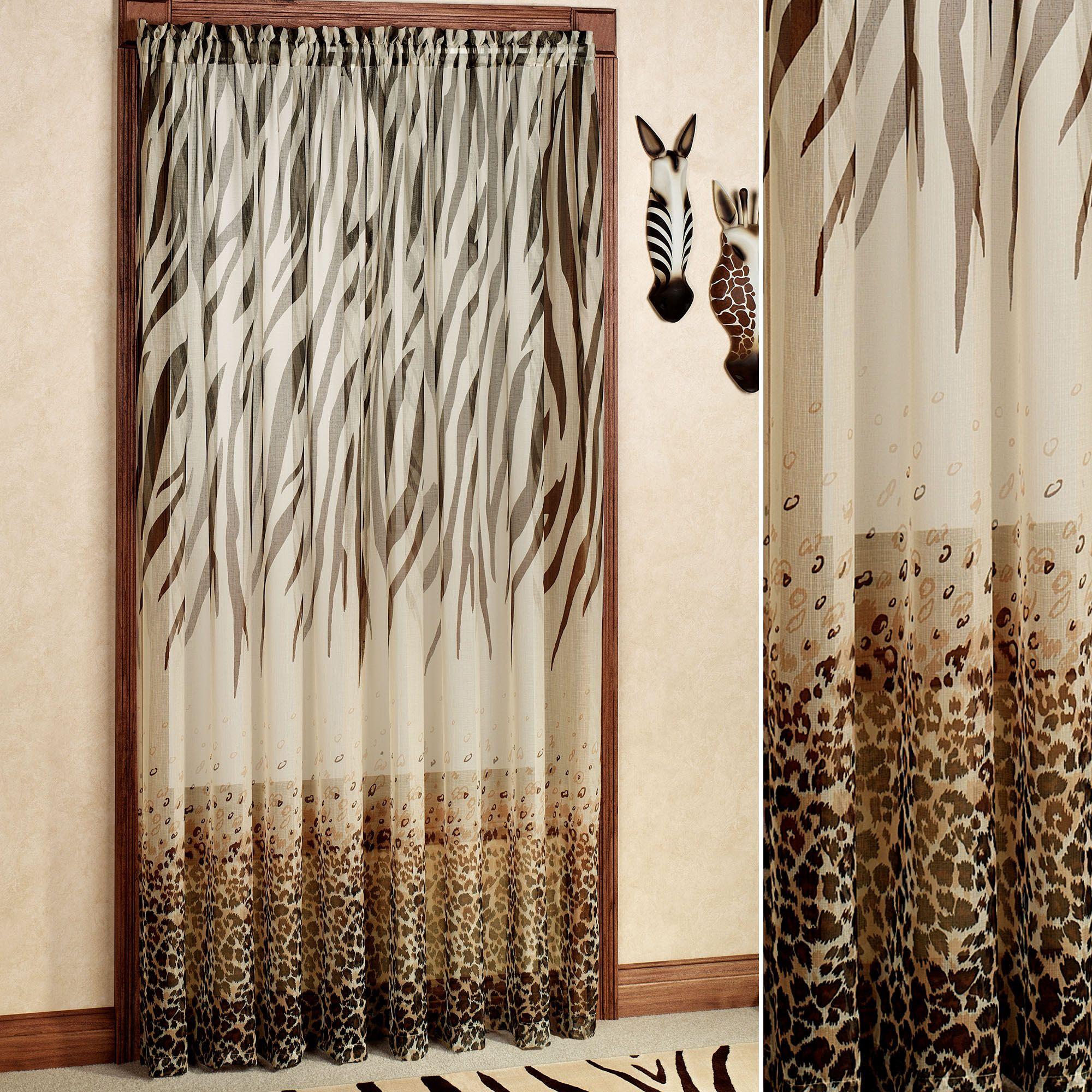 kenya safari brown animal print semi sheer curtain panel
