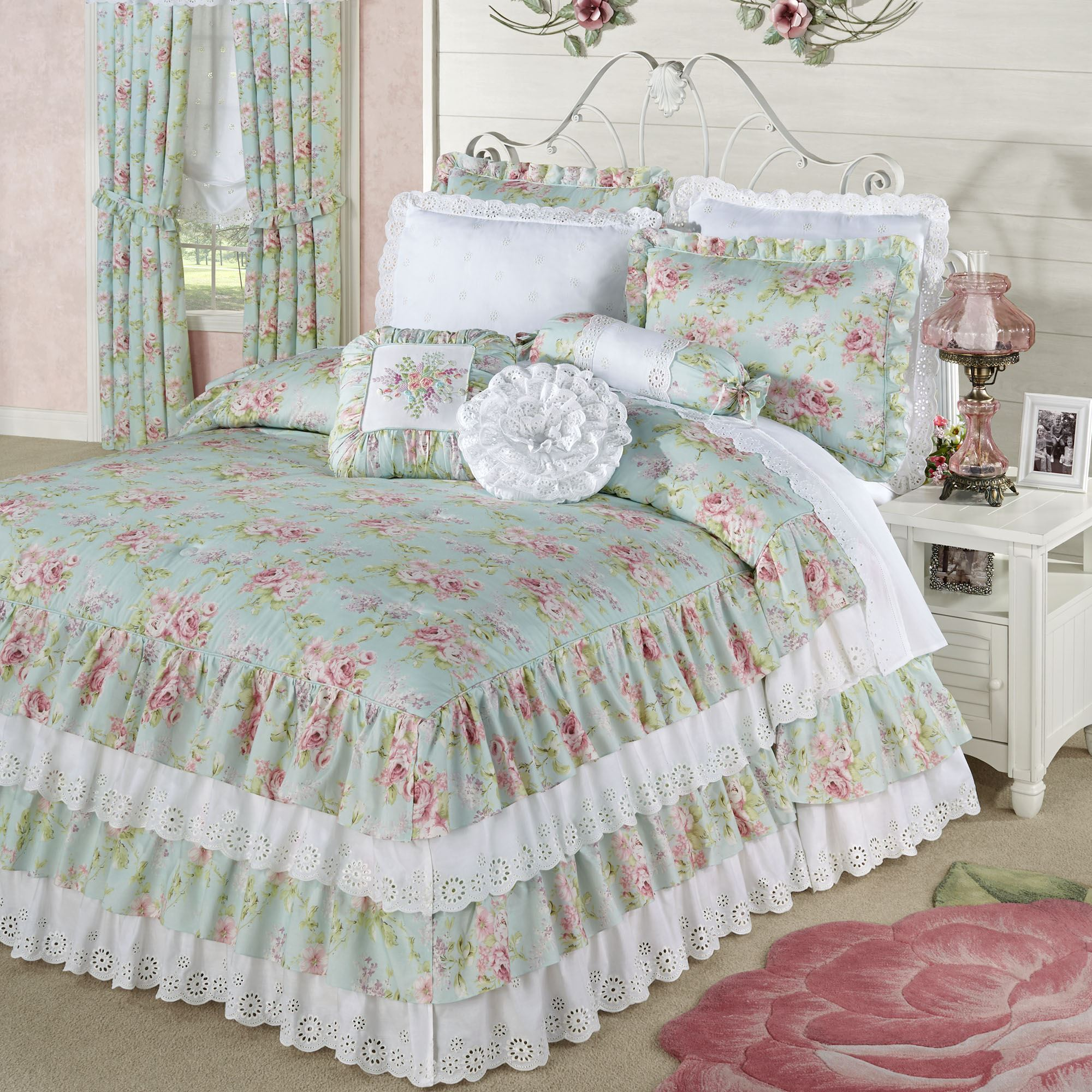 Cottage Rose Aqua Mist Floral Grande Ruffled Bedspread Bedding