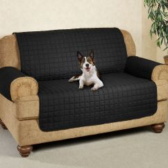 Long Sofa Pet Cover 3 Seater Black Microfiber Furniture Covers With Tuck In Flaps