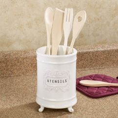 Kitchen Tool Holder Teal Island Circa White Ceramic Utensil Touch To Zoom