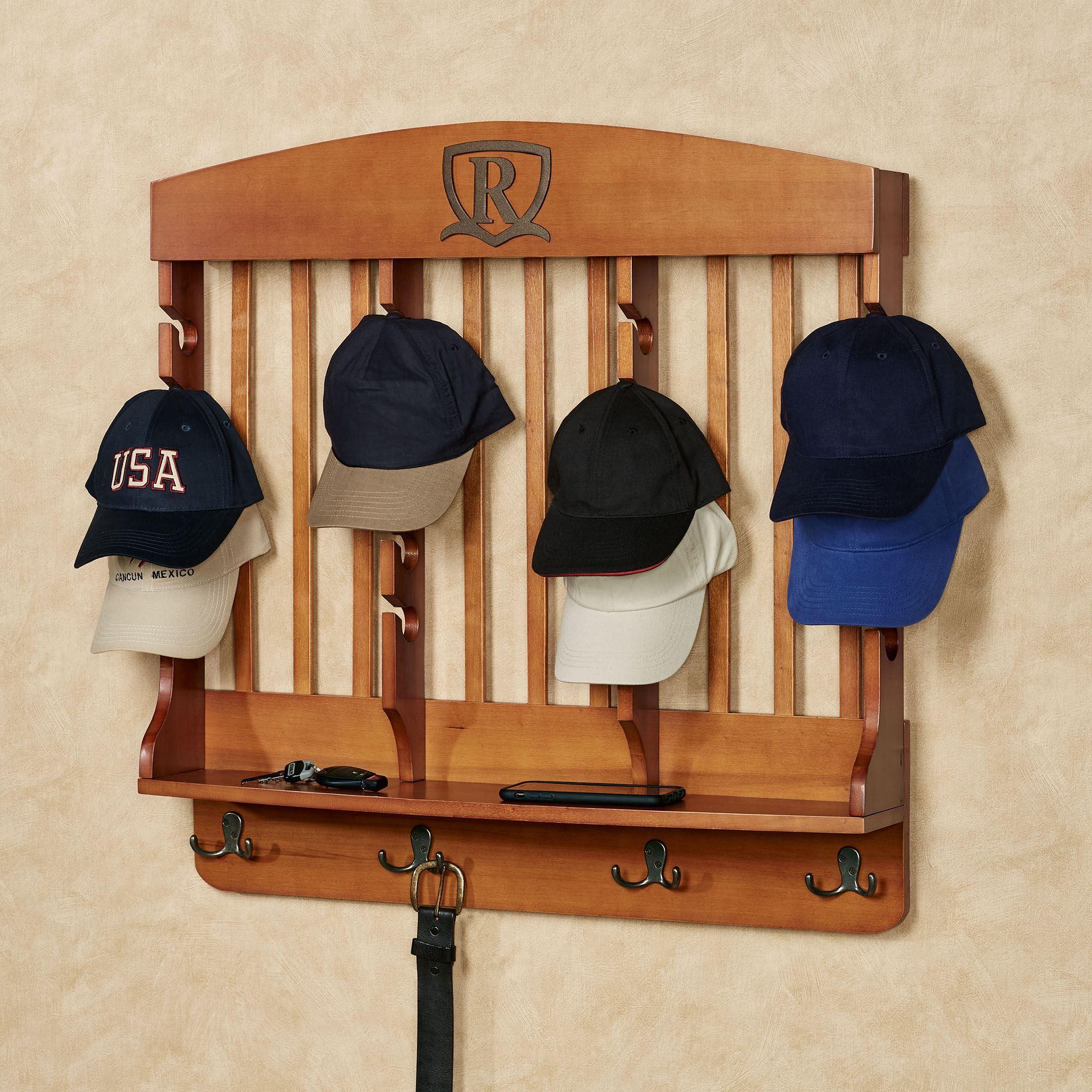 horizontal windsor oak deluxe monogrammed wood cap display wall rack