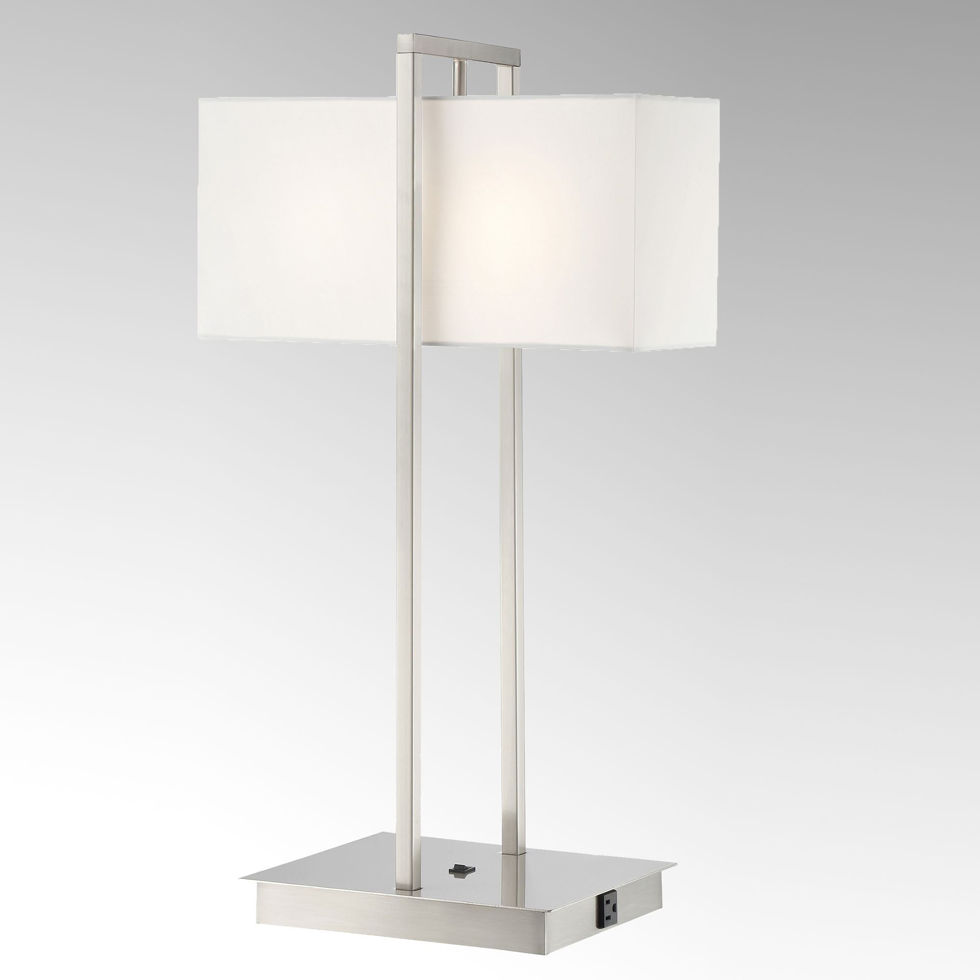 Jareth Brushed Nickel Metal Table Lamp with Outlet and USB