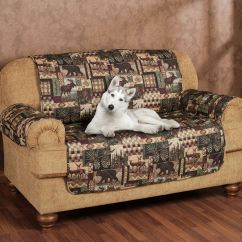 Deer Print Sofa Covers Are Dfs Machine Washable Lodge Quilted Microfiber Pet Furniture