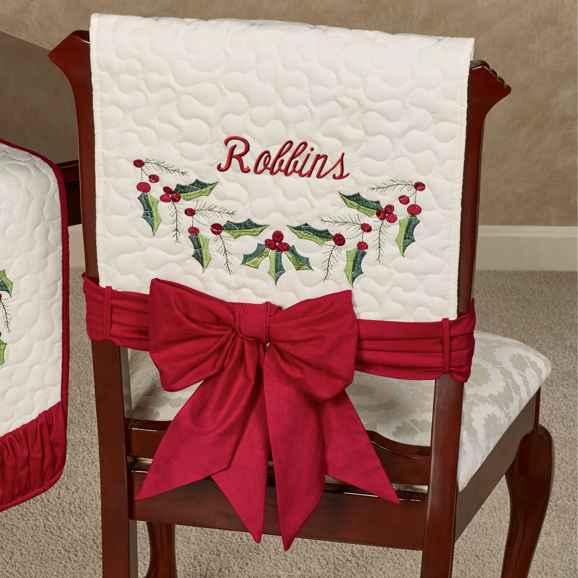 holiday christmas chair covers wingback accent holly wreath quilted cover set of 2