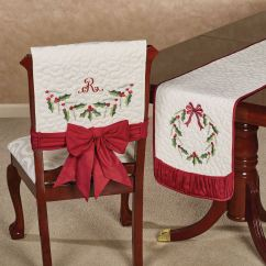 Holiday Christmas Chair Covers Hanging Plans Holly Wreath Quilted Cover Set Of 2