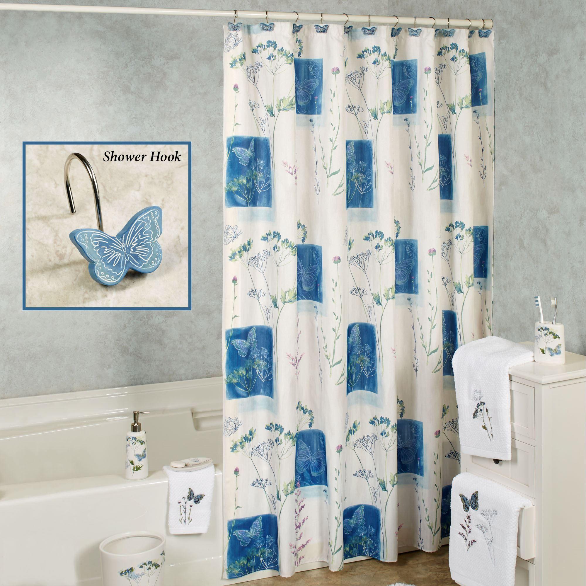 Indigo Wildflowers Butterfly Shower Curtain