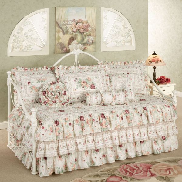 English Rose Floral Daybed Ruffled Bedding Set
