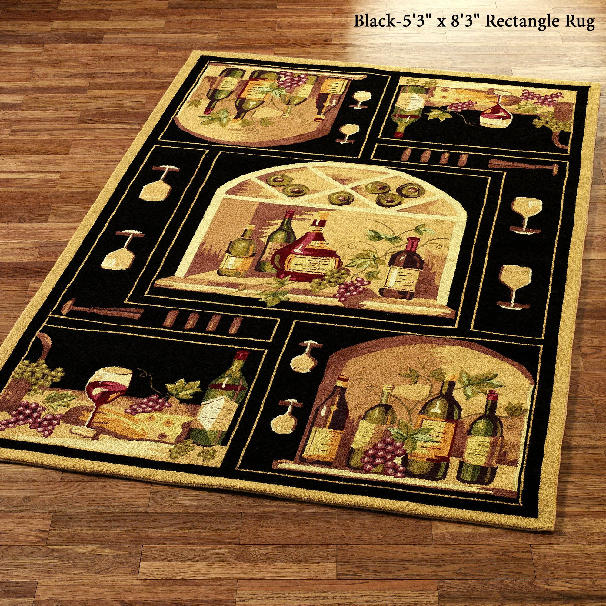 wine themed kitchen accessories lowes cart bottle area rugs