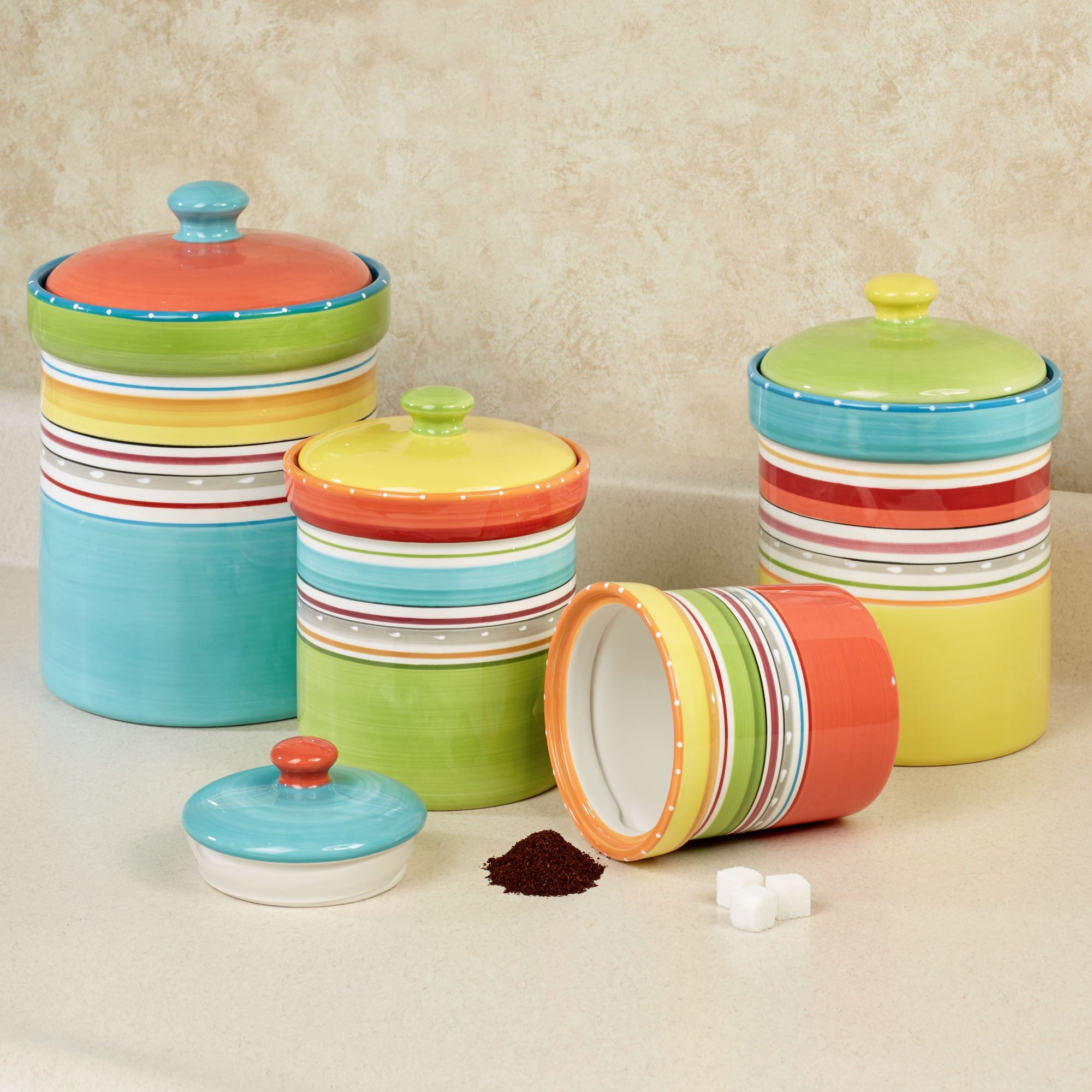 kitchen canister scrub brush holder mariachi striped colorful set touch to zoom