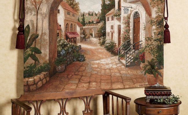 Quaint Town Wall Tapestry
