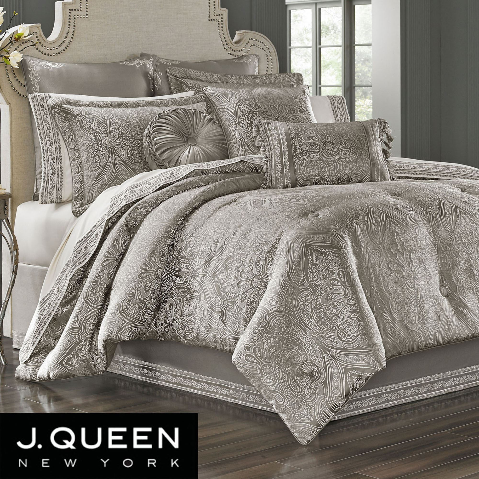 Corinna Silver Comforter Bedding by J Queen New York
