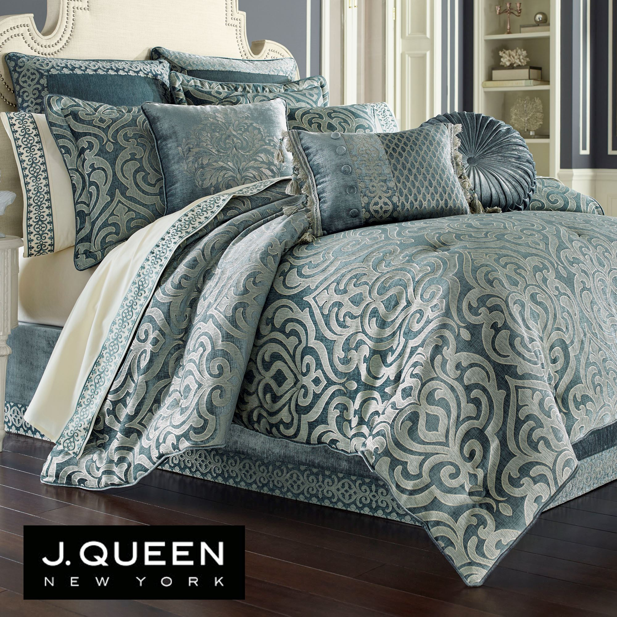 Sicily Teal Medallion Comforter Bedding by J Queen New York