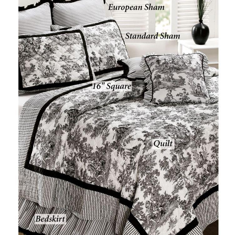 Toile De Jouy Cotton Quilt Bedding