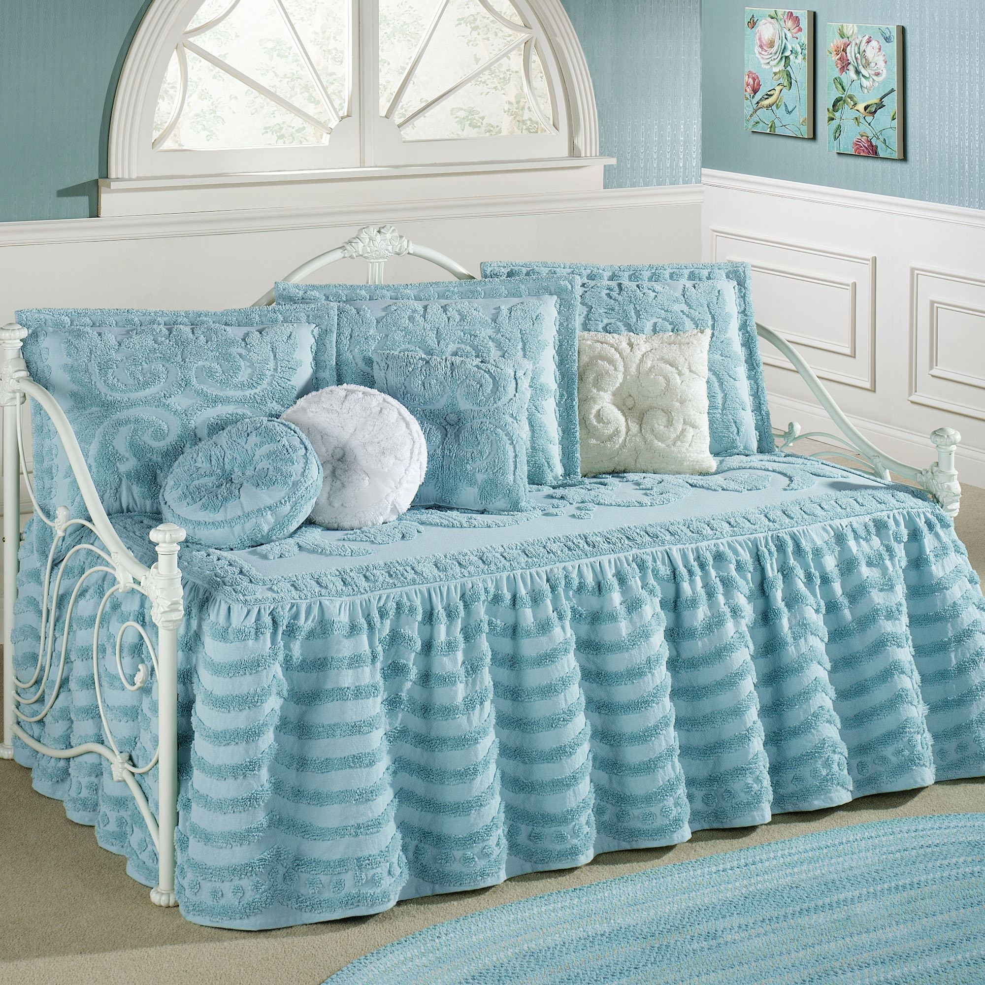 Illusion Pastel Blue Chenille Ruffled Flounce Daybed Set
