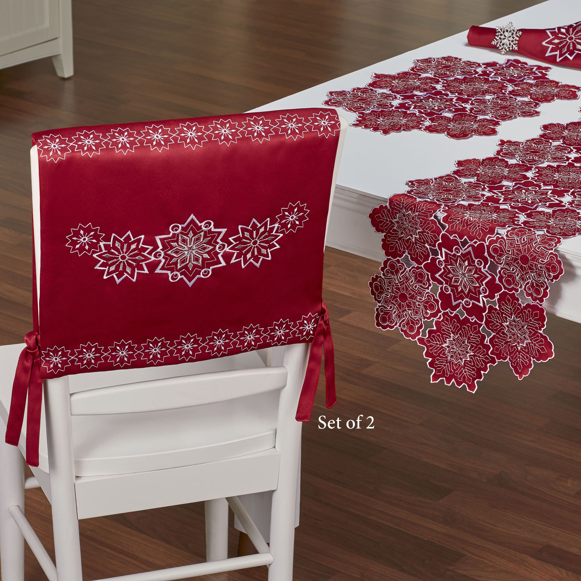 dark red chair sashes black outdoor rocking cushions snowflake holiday cover set of 2