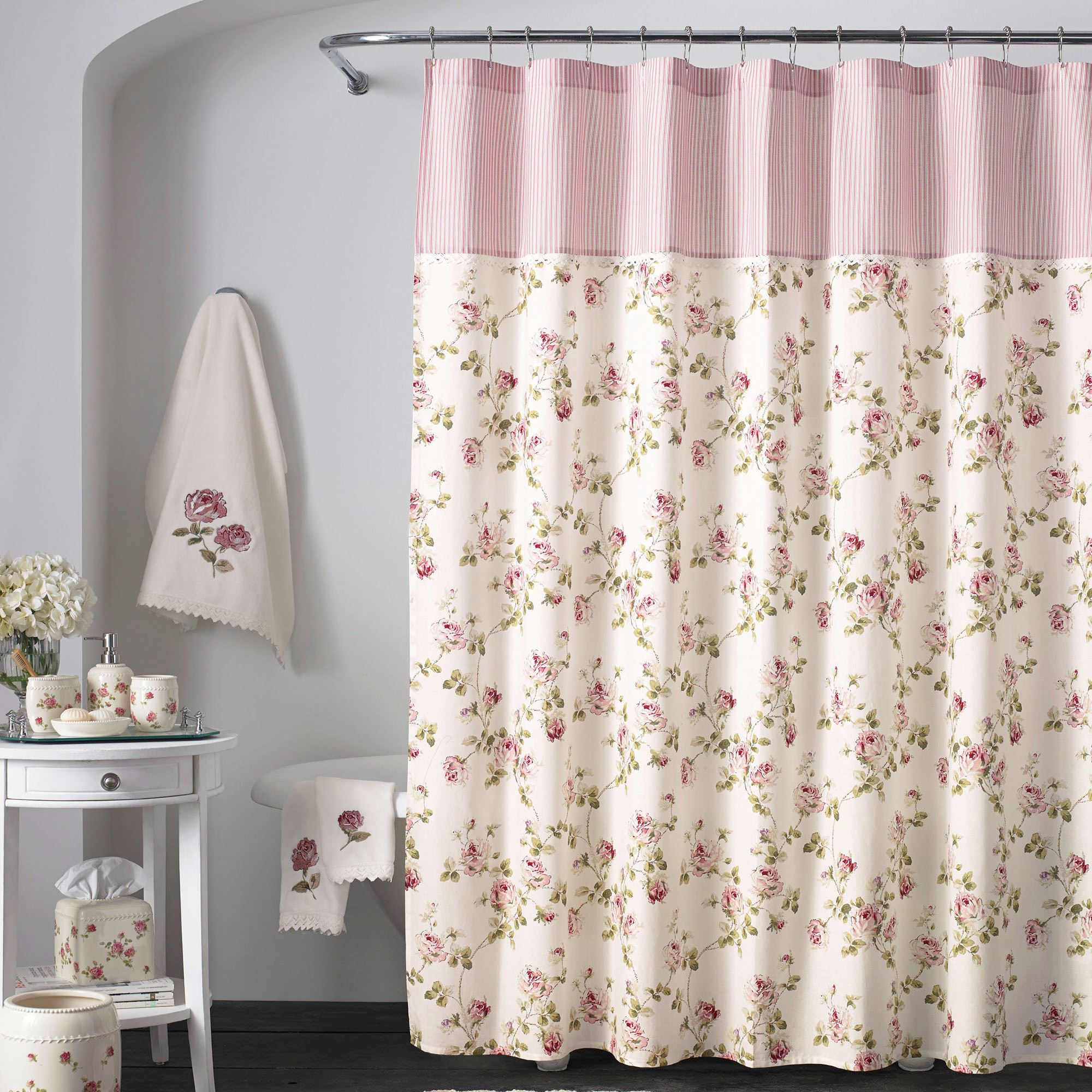 Rosalie Pink Floral Shower Curtain By Piper Wright