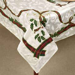 Lenox Christmas Chair Covers Ikea Computer Holiday Nouveau Holly Table Linens Oblong Tablecloth Off White