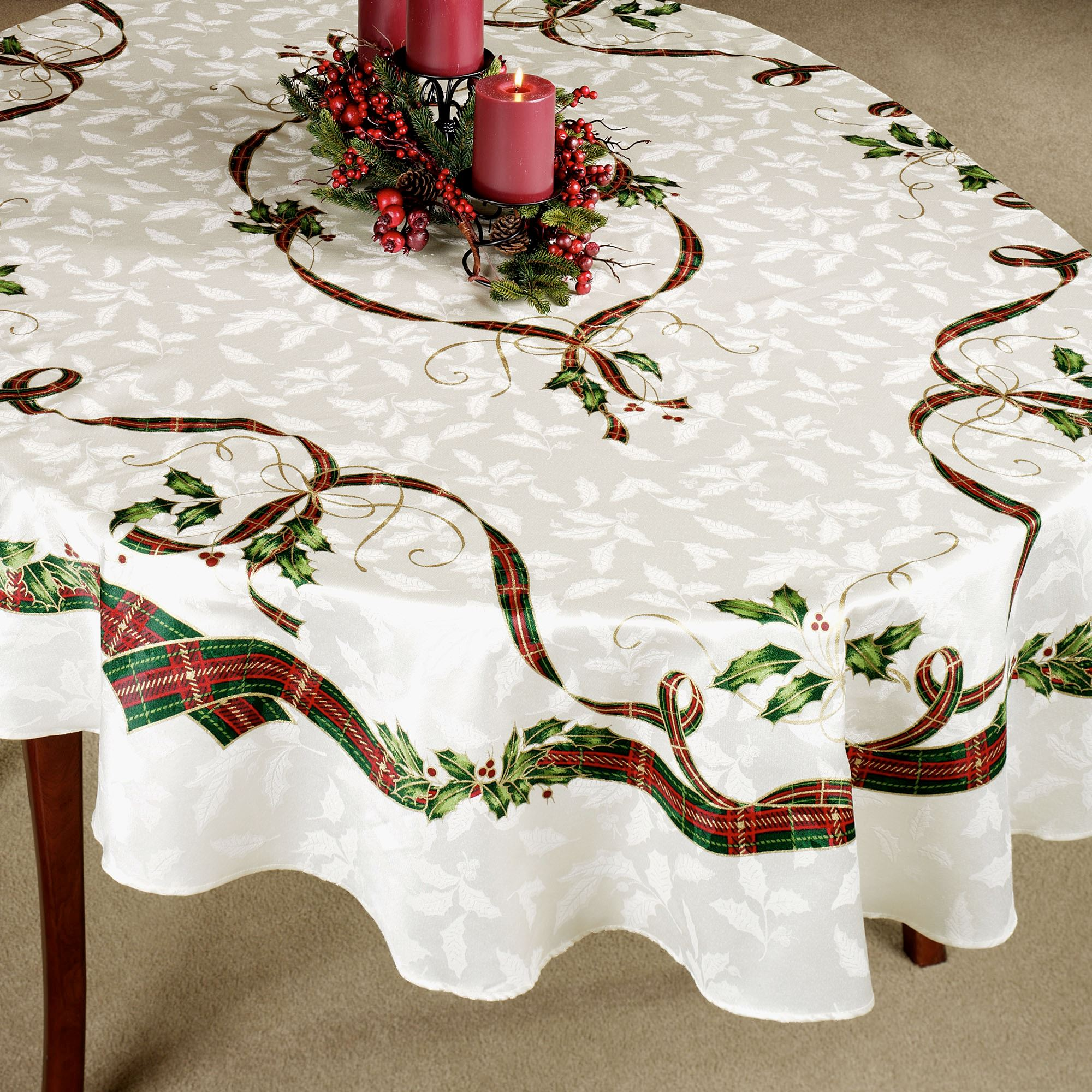 lenox christmas chair covers swing craigslist holiday nouveau holly table linens oval tablecloth