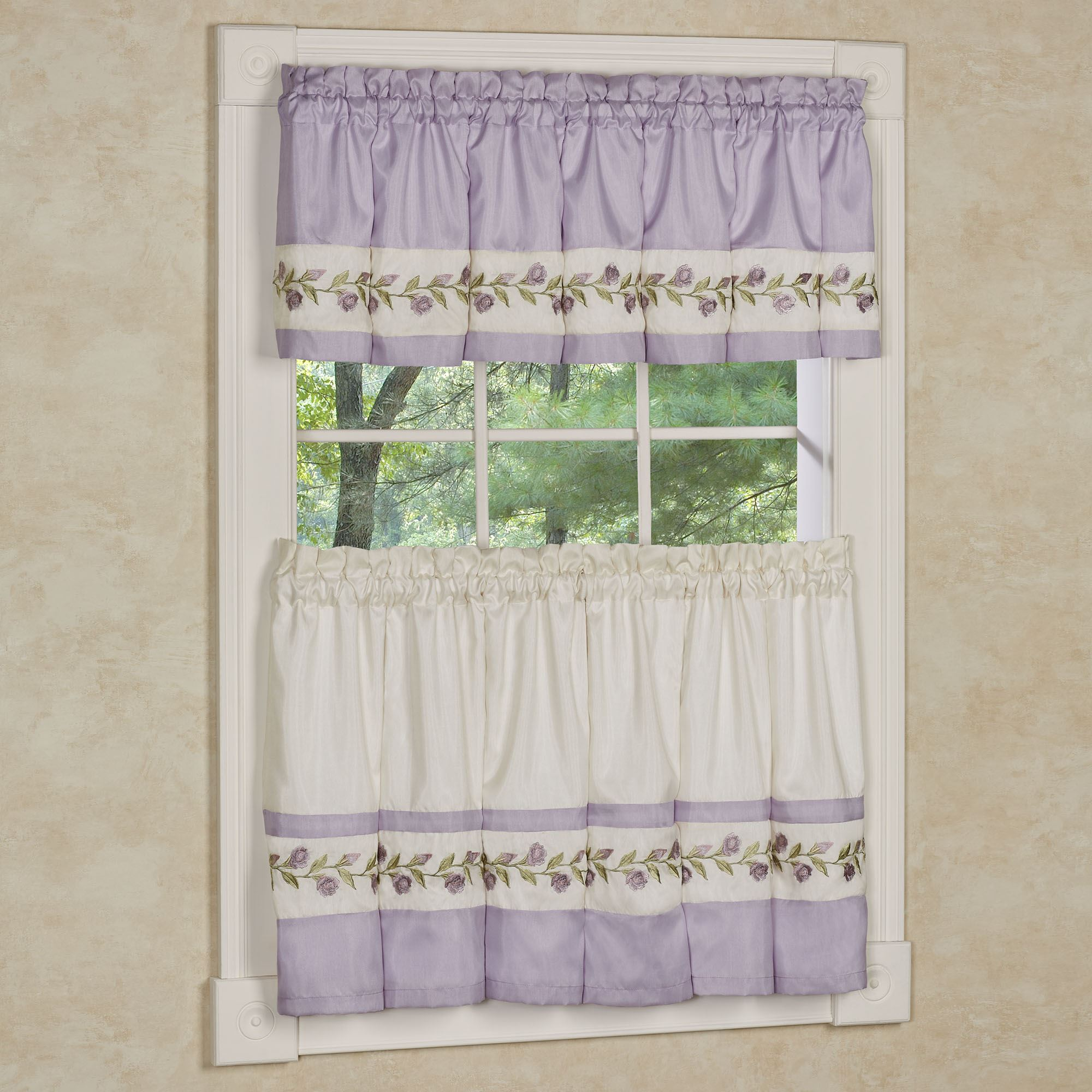 lavender rose embroidered floral shower curtain and accessories