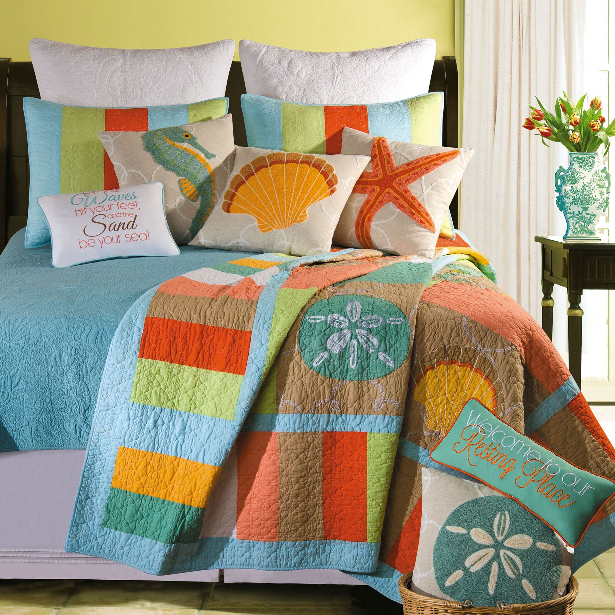 machine washable kitchen rugs shaker cabinets washed ashore beach themed quilt bedding