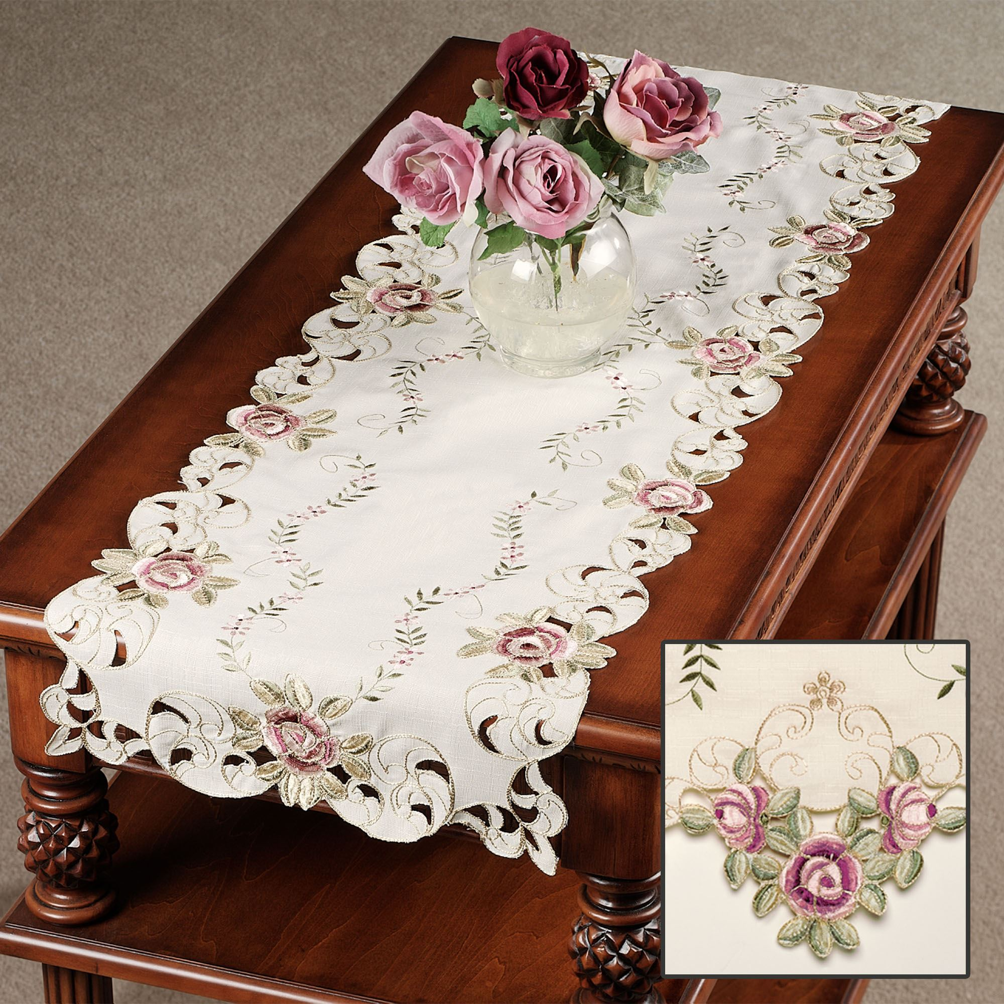 Best Kitchen Gallery: Bella Rose Embroidered Table Runners of Table Runners  on rachelxblog.com